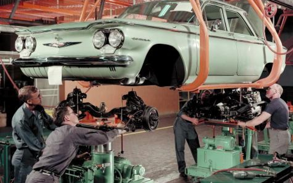 1960 Corvair on Assembly Line