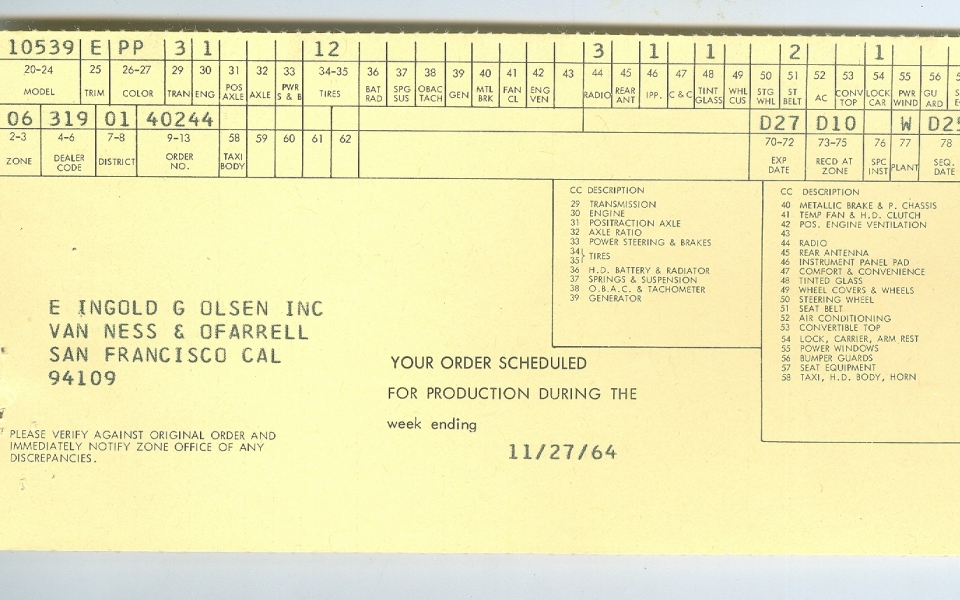 corvair 1965 Expected Date of Production Card