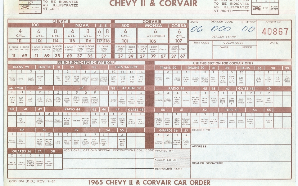 corvair 1965 Order Form